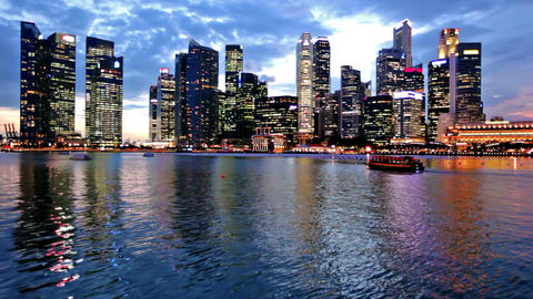 Singapore city skyline at evening Footage