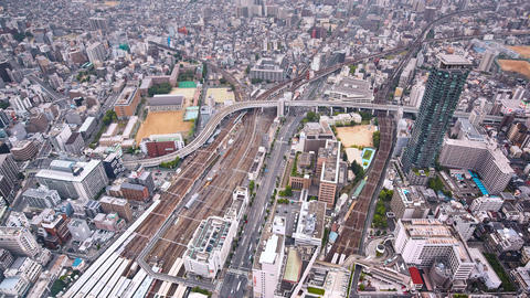 timelapse of aerial view of traffic in Osaka, Japan Live Action