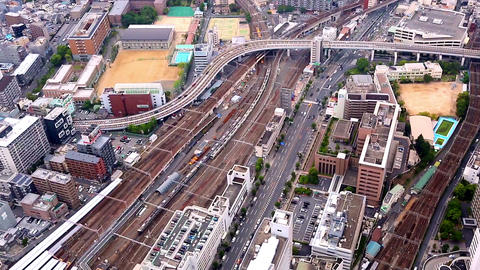 aerial view of traffic in Osaka, Japan Footage
