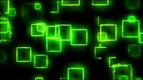 Drawing Square Shapes on Black Background - Loop Green Animation