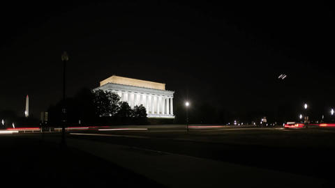 Lincoln Memorial at Night-Time. Center of Washington. the Lincoln Memorial is Lo Footage