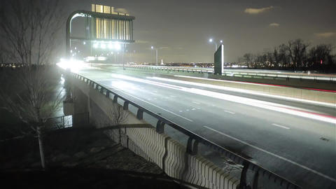 Washington Road at Night Time. the Road Going Car With Headlights Included.on th Footage
