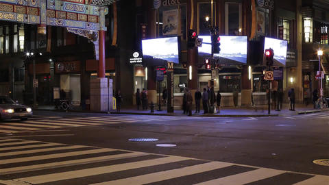 Washington Street at Night. Intersection. at the Intersection Alternately Passin Footage