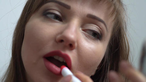 The Woman Draws Lips Lipstick Slow Motion Live Action