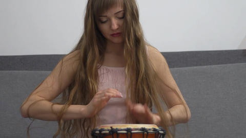 Djembe Played By A Woman Footage
