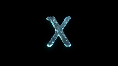 The Letter X Of Ice Isolated On Black With Alpha Matte Animation
