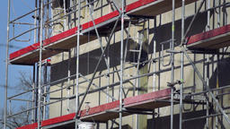 scaffolding for construction of a building with roller Footage