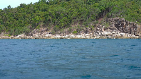 View from boat on stone coast cape of Koh Lipe Footage