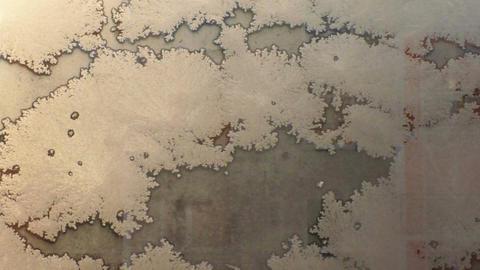Window glass white patterns. Frosty day Footage