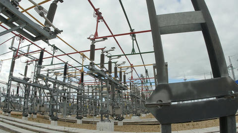 Transmitting Electricity Construction against Cloudy Sky Footage