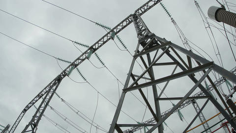 Closeup Electric Transmission Line Support Footage
