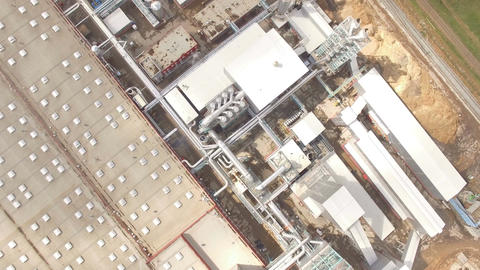 Camera Rotates Over Territory of Industrial Enterprise Footage