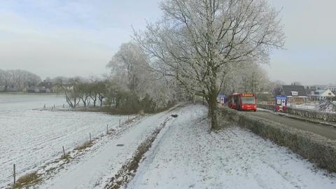 Aerial shots of Dutch winter landscape, fields Footage