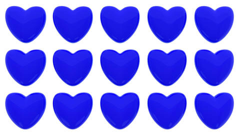 Loop animated pattern of 3D hearts isolated on white background CG動画素材