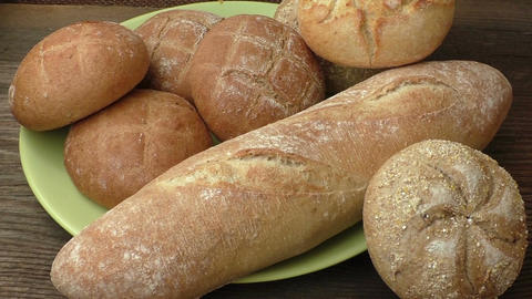 Bread buns. Stack of freshly baked homemade bread buns Live Action