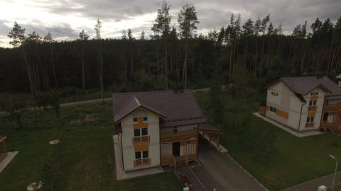 Upper View New Two Storied Cottage in Forest Footage
