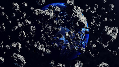 3d Asteroids and The Earth planet in backdrop Animation
