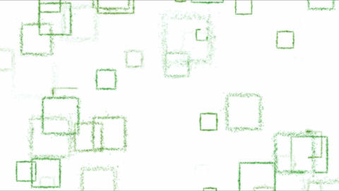 Drawing Square Shapes on White Background - Loop Green Animation