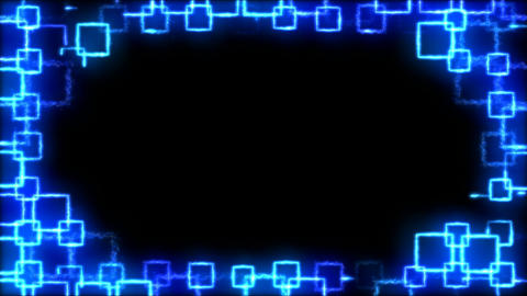Drawing Square Shapes on Black Background Animation - Loop Blue Animation