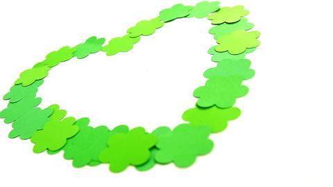 Love heart shape made of green shamrocks for st patricks Live Action