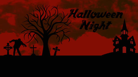 Halloween animation: Black and Red intro Stock Video Footage