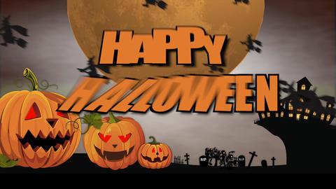 Halloween animation: cartoon intro Stock Video Footage