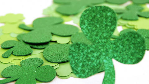 Close up view of sparkly green shamrock for st patricks day Live Action