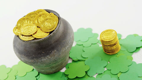 Leprechauns pot of gold with shamrocks for st patricks Footage