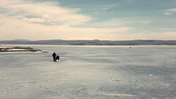 Winter fishing Iskar lake Footage
