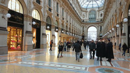 Milan, Italy - February 8, 2017: Vittorio Emanuele II gallery - is an historic s Footage