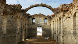 Ruins of the old Eastern Orthodox church of Saint Ivan Rilski abandoned at the b Footage