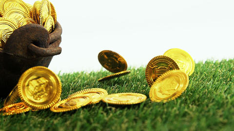 Leprechauns pot of gold on grass for st patricks Live Action