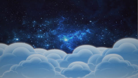 "Cartoon animation ""Clouds and space"" - 4 Stock Video Footage"