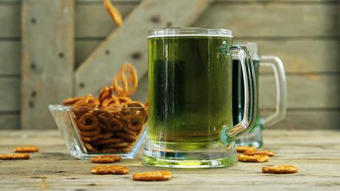 Green beer and bretzels for st patricks Live Action