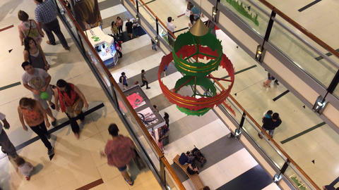 People Christmas shopping at three levels in Buenos Aires shopping mall Footage
