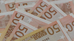 Closeup of Euro banknotes spinning Footage