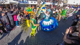 carnaval samba porta bandeira mestre sala Brazilian Brazil mardi gras flag Footage