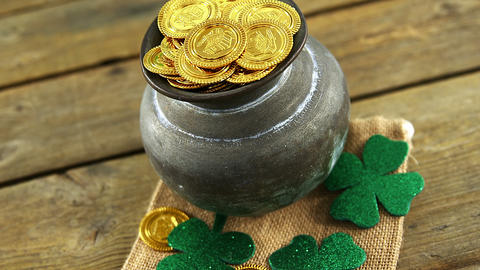 Leprechauns pot of gold on table for st patricks Live Action