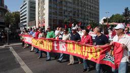 demonstration protest IMF Troika Lisbon Portugal plan citizens crowd meeting Footage