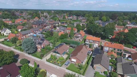 Aerial shots of Dutch village Hellendoorn, turn around