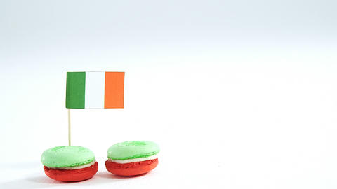Irish flag stick in macaroons for st patricks Live Action