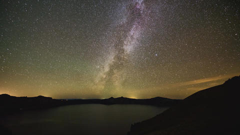 Time lapse of milky way over crator lake Oregon Footage