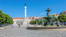 Lisbon Rossio Dom Pedro IV square Maria II theatre baixa street fountain cobbles Footage