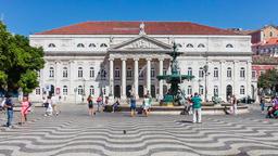 Dona Maria II theatre Lisbon Rossio square Dom Pedro IV monument baixa street Footage
