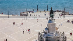 Lisbon praca do comercio terreiro do paco commerce square king dom jose I statue Footage