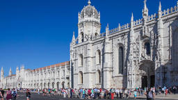 Lisbon Jeronimos Monastery Hieronymites abbey gothic south portal Portugal Footage