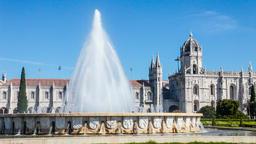 Lisbon Jeronimos Monastery Hieronymites abbey fountain Imperio garden gothic Footage