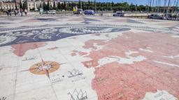 Padrao dos descobrimentos belem Lisbon monument discoveries world map Africa Footage