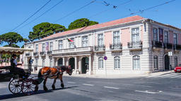Lisbon coach museum Belem stagecoach coach horse horse-drawn carriage famous Footage