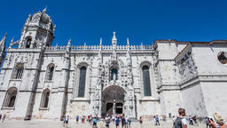 Lisbon Jeronimos Monastery Hieronymites abbey gothic south portal tracery Footage
